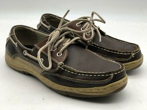 Jarman Mens Brown Leather  Boat Deck Loafers Sz 8